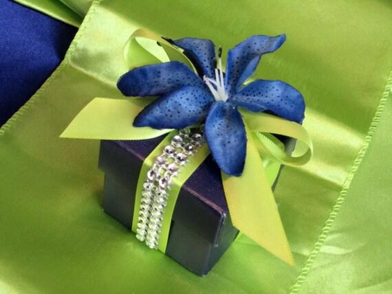 Items similar to Lime Green and Royal Blue Bridal Wedding Favor Box ...