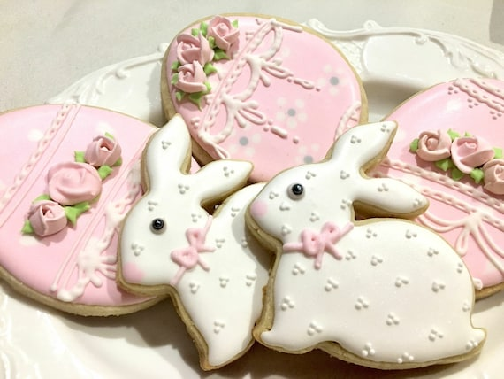 12 Bunny and Egg Cookies for baby showers or birthdays, baby onesie cookies
