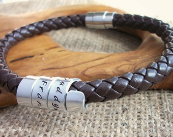 Personalised Mens Bracelet ~ Secret message, Valentines Gift,  Brown thick 8mm bolo leather hand stamped wrapped spiral twist ~ Father's Day
