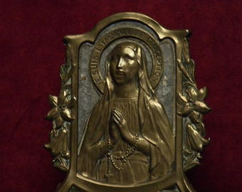 antique French bronze plaque display i am the immaculate conception