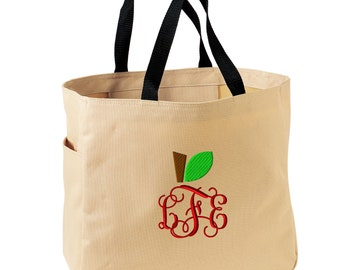 Teacher Monogrammed Tote Bag - Embroidered.  Teacher Appreciation Gifts. Apple Monogrammed Teacher Tote Bag.  Gifts For Teachers. SM-B0750