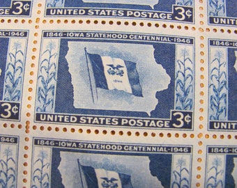Blue Corn Huskers Full Sheet of 50 Vintage UNused US Postage Stamps 3c 1946 Iowa Statehood Centennial IA Blue Wedding Postage Save the Date