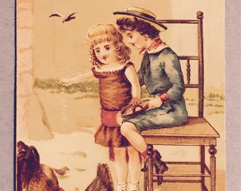 Victorian Trade Card 1800s, Little Victorian Boy and Girl Feeding Chickens, A Wonderful Antique Collectible