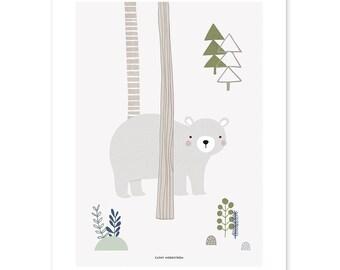 Woodland Baby Nursery Art print Bear