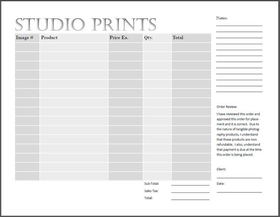Studio Print Order Form Photography Print Form Ips Sales