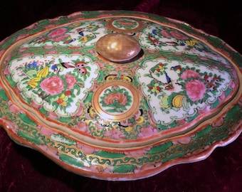 Antique Rose Medallion Serving Dish with Cover and spoon