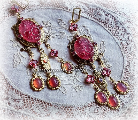 """Antique Style Victorian Edwardian Rose Carved Glass Chandelier Earrings - Vintage Czech Glass Stones -  3.25"""" long length - READY TO SHIP"""