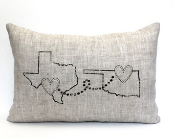 """mothers day, housewarming gift, valentine gift, personalized pillow, map pillow, custom gift, anniversary, mother's day gift  """"The Distance"""""""