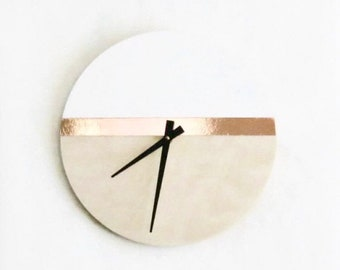 Modern Wood Wall Clock, Large White and Copper Sustainable Wood Wall Decor and Art