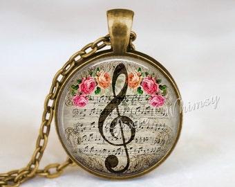 MUSIC Pendant Necklace TREBLE CLEF Jewelry G Clef Keychain, G Clef  Necklace, Music Teacher Gift, Pink Shabby Roses, Vintage Sheet Music