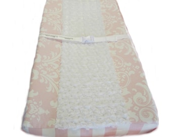 Changing Pad Cover Pink Damask