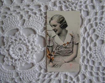 Small Vintage Hand-Tinted Vintage Photograph 1920s 1930s Lady Portrait, Ready to Frame, Paper Ephemera