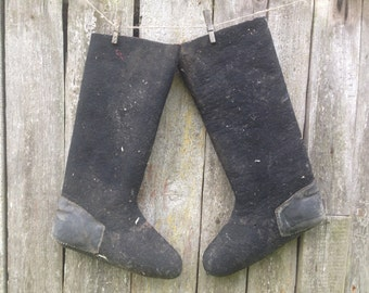 Stivali stivali di feltro duro inverno sovietico sovietico mens lana lungo stivali stivali di lana nero Vintage Stivali di feltro nero
