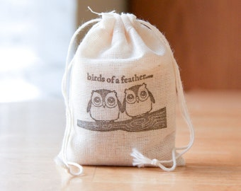 Birds Of a Feather Owl muslin cotton favor bag with stamp gift sack love wedding