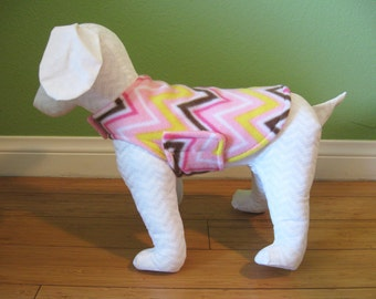 Fleece Dog Coat, Extra Small, Pink, Yellow, Brown, and White, Chevron Print with Pink Fleece Lining