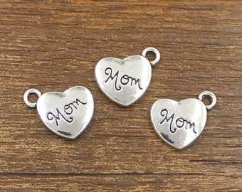 20pcs Mom Heart Charms Antique Silver Tone Double Side 14x18mm - SH257