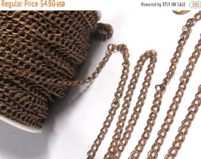 SALE 5 feet - Double link chain copper tone plated chain supplies  5 mm wide x 5 -6 mm long each link - MG010