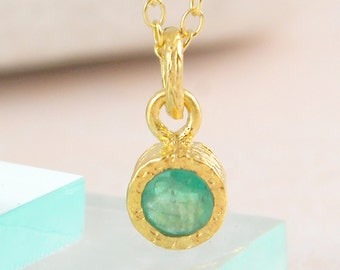 Gold Emerald Necklace, Gold Pendant, Gemstone Pendant, Precious Stone, Gemstone Necklace, Birthstone Necklace, Gold Gemstone, Jewelry Set