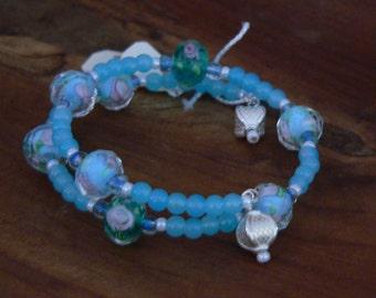 blue bracelet, sky blue bracelet, blue glass bracelet, artisan glass bracelet, blue and green, boho bracelet, gift for her, wrap bracelet