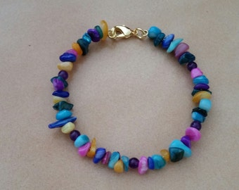 Rainbow turquoise bracelet with gold clasp