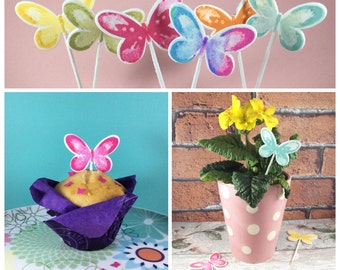 Spring butterflies cake toppers - Mother's Day - Summer wedding - rainbow pastel birthday cake topper - glitter butterfly cupcakes