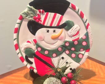 Snowman Plate Fritz and Floyd Snowman Plate Vintage Christmas Decorations Christmas Serving Plate Christmas Cookie Plate