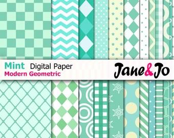 24 Mint Digital Papers,MINT Green Modern Pattern Digital Paper Pack, chevron,polkadots,stripes,hearts paper,scrapbook,Instant Download Paper