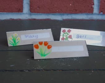 Place Cards--Vintage Glass Mirror Place Cards Set of 8 With Painted Flowers in Original Box, Hostess Gift, Table Setting, Dinner Party