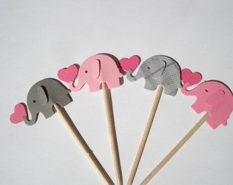 12 pink and Gray plaid elephant and mini heart cupcake or food picks, baby shower, birthday party