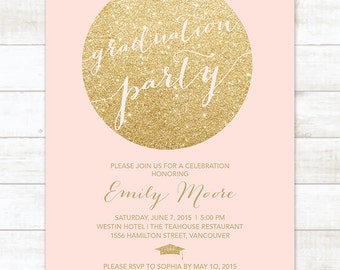 pink and gold graduation party invitation, pink and gold glitter printable graduation party digital invite, customizable