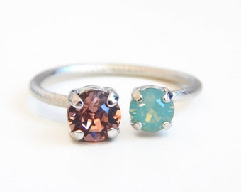 open ring crystal ring - pink and green ring - mint green and blush pink  - open ring - crystal ring - silver ring -