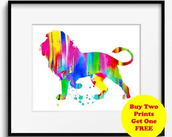 Lion Watercolor Art Print (137)