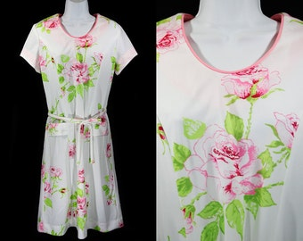 Vintage 60's PRISSY Pink Green & White Floral Dress