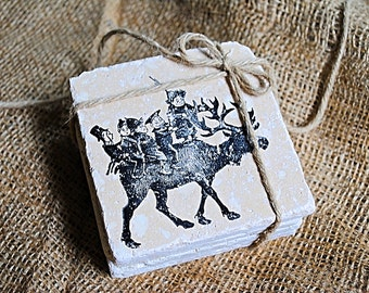 Elfin Christmoose, Christmas Coasters, Elf Coasters, Moose Coasters, Absorbent Coasters, Unique Coasters, Set of 4 Stone Coasters