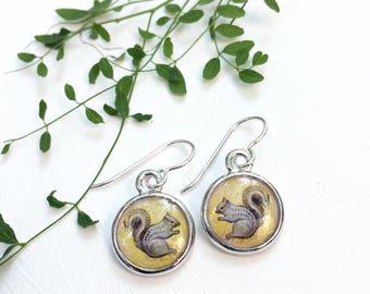 Squirrel earrings, Handmade, Original art, Squirrel prints