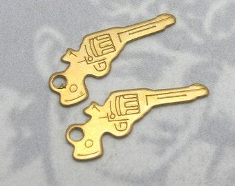 Tiny Brass Pistol Gun Charms (20X) (M667)