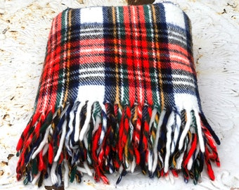 Vintage Soft Plaid Acrylic Blanket, Red, Black, White, and Yellow