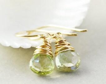 Green Quartz Dangle Earrings, Lime Green Drop Earrings, Handmade