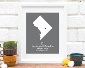 Washington DC Personalized Map, Personalized Wedding Gift, State Map, Bridal Shower Decor, Gift for Couple, Gay Wedding Gift- Art Print