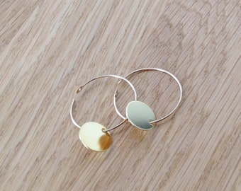 Gold earrings,hoop earring, minimalist earrings, disc earrings,dainty earrings,disc earrings in gold filled or sterling silver- F6