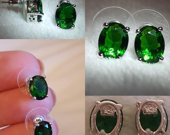 Emerald Sterling Silver Studs