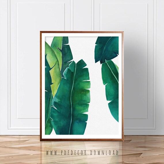 Banana Leaf Art, Watercolor Art Prints, Leaves Wall Art, Greenery, Botanical art, Leaf Print, Palm Leaf Wall Art, Tropical Decor, Wall Art