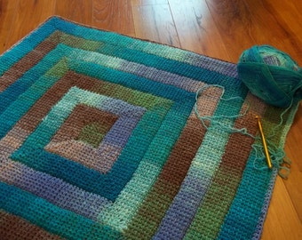 Simply Spiraled Square or Rectangle Crochet Pattern. Make a dishcloth, afghan, baby blanket, rug as you wish.