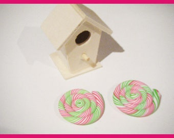 2 fimo polymer clay lollipop cabochons