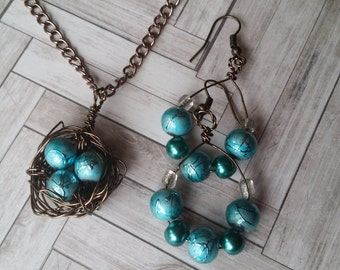 Handmade Wire Wrapped Birds Nest Necklace with matching Earrings