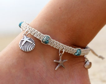 Hemp  Anklet,  Starfish Anklet, Beach Anklet, Macrame Anklets, Natural Twine Anklet, Beaded Anklets, Christmas Gifts