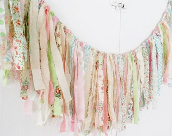 Rag Tie Garland, Rag Fringe, Fabric Garland, Birthday, Nursery, Shower, Tea Party, Shabby Chic Garland Farmhouse Wedding Photo Prop
