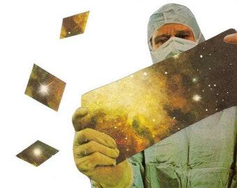 Trippy Art, Original Collage, Space Geometric Wall Decor, SciFi Art, Geeky Sci Fi Artwork, Strange Wall Art