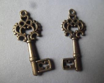 x 5 pendants/charm key pattern bronze 28 x 11 mm