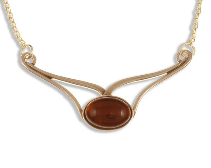 Amber Bronze openwork with large oval amber cabochon necklace on gold-plated trace chain-Made in UK